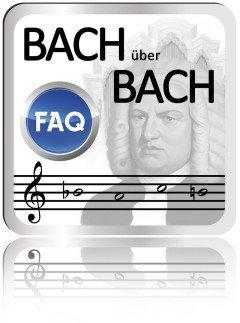 Das Bild zeigt den modernen grafischen Button, der sich spiegelt. Darauf die Worte Bach über Bach, das graue Bach Gemälde von Briana, die Notenlinie mit den Noten B-A-C-H und der FAQ Button als Kreis.