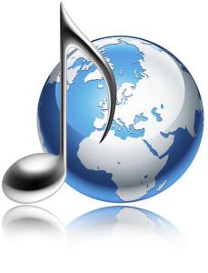 Im Bild ist die Symbolik zum Thema Bachchöre, Bachorchester und Bachvereine der Welt, nämlich eine silberne Note links und eine blau-graue Erdkugel rechts, beides spiegelt sich auf weißem Grund.