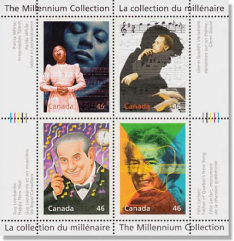 4 Maken auf einem Block, aber auf keiner Briefmarke sieht man Johann Sebastian Bach - nur auf der oberen rechten sind Noten von ihm im Hintergrund.