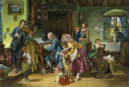 Man sieht das farbige berühmte BIld von Tobi E. Rosenthal: Morgenandacht. Die Familie Bach schart sich Johann Sebastian Bach, der am Klavier sitzt.