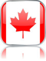 Man sieht im Bild die Flagge von Kanada auf einen Metallbutton plus Spiegel gestaltet. In Kanada gibt es 7 Bach Chöre, Bach Orchester oder Bach Vereine.