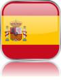 Man sieht im Bild die Flagge von Spanien auf einen Metallbutton plus Spiegel gestaltet. In Spanien gibt es einen Bach Verein.