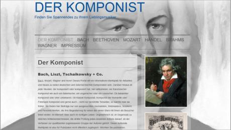 Man sieht das Titel Design einer neuen Homepage mit der Zeichnung von Bach, allerdings schwarz/weiß im Hintergrund In der Bildmitte ist ein farbiges Bild von Beethoven. Dabei eine historische Zeitung.