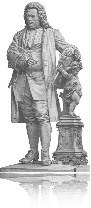Eines der bekanntesten Denmäler von Johann Sebastian Bach als schwarz/weißer Stich: Bach steht, hat eine Schreibfeder in der Hand. Ein Engel links daneben hält ein Buch, für Bach zum Lesen bereit.