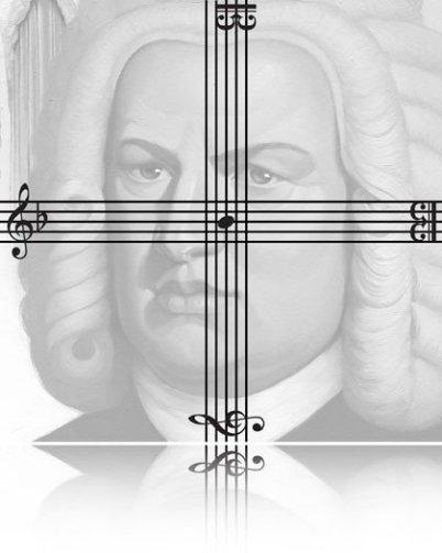 Im Bild sieht man das B-A-C-H Kreuz. Notenlinien waagrecht und senkrecht mit den Noten B a c h. Dahinter blass: das Portrait von Bach in grau.