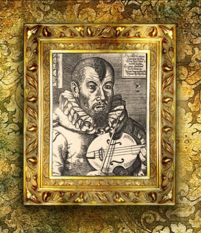 """Ein 400 Jahre altes Foto """"Bach, ein Spielmann"""", schwarz-weiß ist in einen opulenten Barockrahmen gesetzt. Bach, ein Spielmann hat eine Art Geige. Ein Vollant-Hemd und schaut düster."""