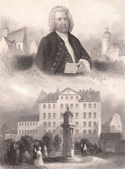 Im Bild ein Hochformat eines schwarzweißen Stichs aus zwei Teilen. Oben ist das Brustbild von Bach, dem Haußmann-Motiv nachempfunden, unten das alte Bachdenkmal in Leipzig vor der Thomasschule.