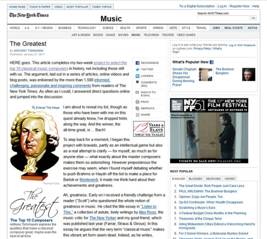 Man sieht den Internet-Artikel zu den Top 10 der klassischen Komponisten der New York Times mit einer sympathischen Karikatur von Bach.