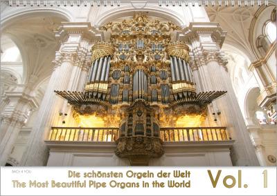 """Das Orgelkalender-Deckblatt: Man sieht oben eine brarocke goldene Orgel inmitten weißem barocken Stuck. Die unteren 20 % des Blattes sind der Titel """"Die schönsten Orgeln der Welt"""", auch in englisch, sowie die große Zahl 2017. Schrift und Zahl sind auch in"""