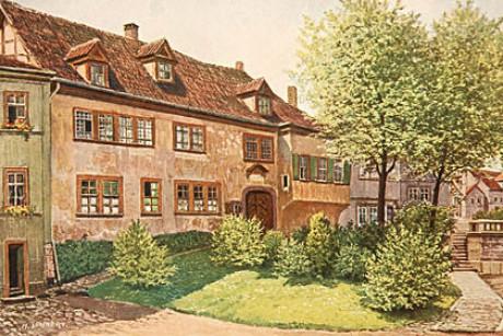 Ein hübsches duftiges Gemälde des Bachhauses in Eisenach wo Vater Ambrosius und dessen Frau mit acht Kindern wohnten. Es ist Sommer, alle Pflanzen haben einen Hauch von Frühlings-Grün.