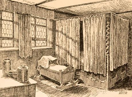 Auf einer vergilbten schwarz-weißen Bleistift-Zeichnung sieht man im Bild ein Bett, das an allen Seiten wie ein Himmelbett durch Vorhänge geschlossen ist. Davor steht eine Wiege. Sonne scheint hinein.