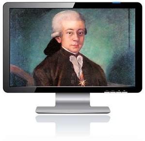 Das Bild zum Zitat zu Bach: Ein Ölgemälde von Bach, farbig, als junger Mann. Man kennt dieses Bild nicht. Es ist in einen modernen PC-Bildschirm montiert.