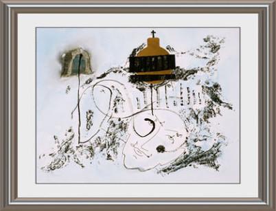 Illustration der FAQ sieht man einen Bachkopf, einen Notenschlüssel und die Spitze eiern Kirche mit goldener Kuppel und Kreuz. Der Hintergrund ist ein Hauch von Blau.