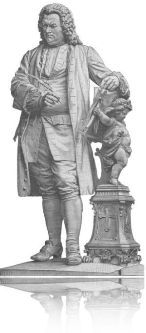 Keine Kurzbiographie zu Bach, dafür ein alter Stich vom Denkmal für Bach in Eisenach. Man sieht Bach mit Federkiel, daneben eine Säule mit Engel, auf dessen Rücken hält er ein Buch aufgeschlagen.