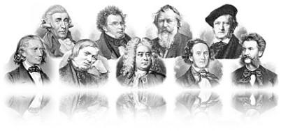 Im Bild sieht man eine extrem breite Collage aus Zeichnungen von Komponisten, alle Zeichnungen verblassen am Rand. Die ganze Collage schwebt auf weißem Untergrund und hat unten einen Spiegel.