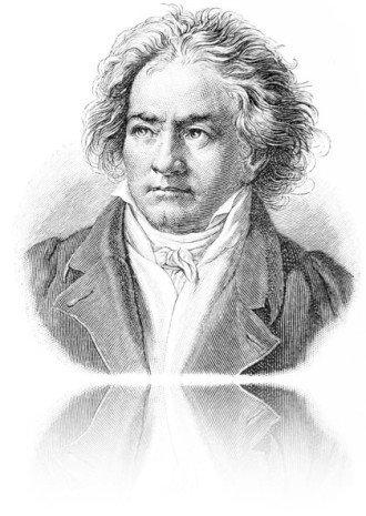 Im Bild sieht man Beethoven als schwarz-weißen Stahlstich. Das Werk ist von uns an allen Seiten verblassend bearbeitet. Es spiegelt es sich auf weißem Untergrund. Beethoven schaut nach links oben.
