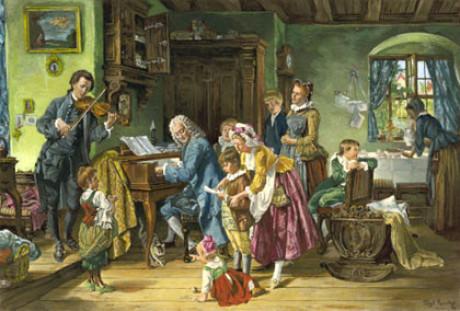 morgenandacht ein berhmtes bild von toby edward rosenthal johann sebastian bach im kreise seiner familie