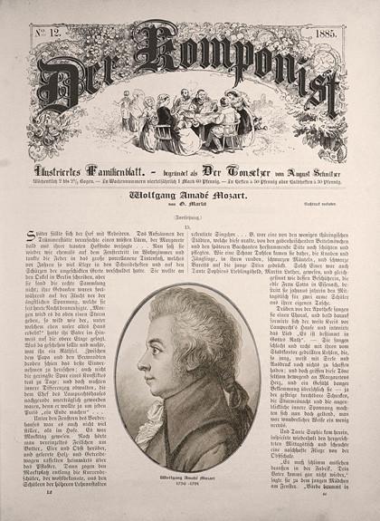 """Das Bild zeigt eine Illustration einer historischen Illustrierten. In ihr sollten die Bachchöre und Bachorchester deren Termine publizieren können. Alles ist im beigen Farbton. Titel: """"Der Komponist"""", steht oben halbrund, darunter eine Tischgemeinschaft -"""
