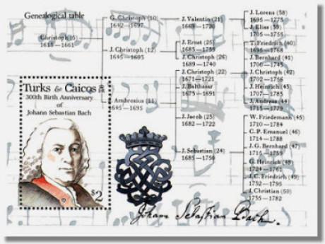 Auf der großen weißen Breifmarke ist links das Portrait von Johann Sebastian Bach. Dazu gehören 4 Hochformate mit Instrumenten.