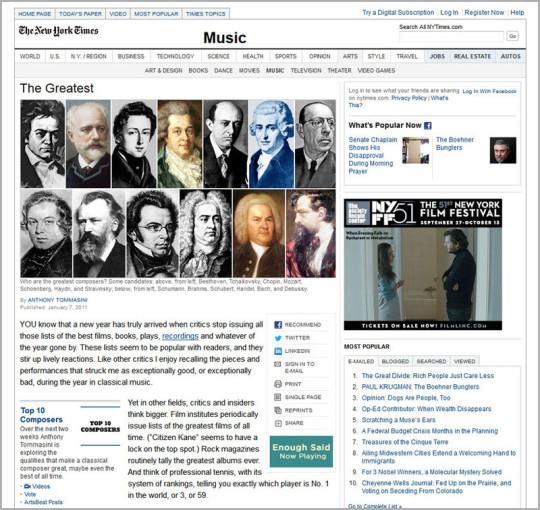 Auf der zweiten Seited des NYT-Berichts geht der Text weiter und man sieht die Portraits von allen 10 Komponisten. in zwei Reihen.