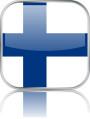 Man sieht im Bild die Flagge von Finnland auf einen Metallbutton plus Spiegel gestaltet. In Finnland gibt es 1 Bach Chor