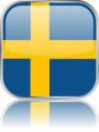 Man sieht im Bild die Flagge von Schweden auf einen Metallbutton plus Spiegel gestaltet. In Schweden gibt es einen Bach Chor.
