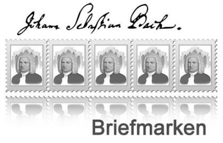 Im Bild das stilisierte Widererkennungs-Logo der Bach Breifmarken: 5 stilisierte Marken nebeneinander mit dem Bach-Portrait in grau. Auch dabei Schriftzug Briefmarken und Unterschrift von Bach.