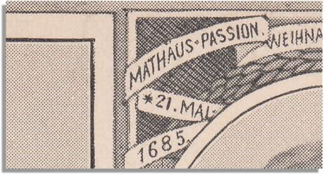 Eine extreme Herausvergrößerung des Bildes von Johann Sebastian Bach benennt seinen Geburtstag falsch mit dem 21. Mai 1685