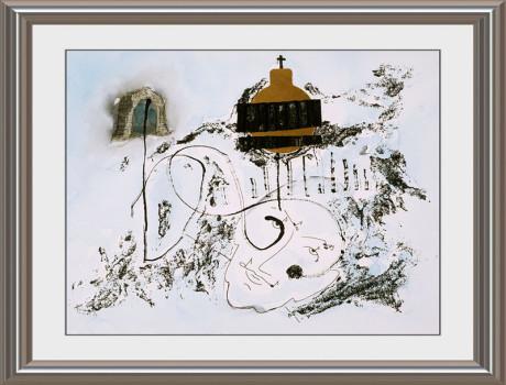 Ein wunderschönes Gemälde zum Thema Bach mit einer skizzierten Tiefe und einem Goldanteil. Unten im Bild ist ein Portrait von Johann Sebastian Bach