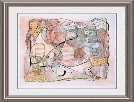 Ein traumhaftes Kunstwerk zum Thema Johann Sebastian bach besteht aus Tausenden kleiner Noten und fasst thematisch verschiedenste Aspekte aus dem Leben von Bach zusammen.