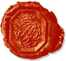 Im Foto das Bach-Siegel in roten Siegellack eingerückt. Das Siegel ist auf weißem Grund mit leichtem Schatten. Senkrecht in der Mitte ein winziger Riss. Die Umrandung ist ein Achteck um JSB und Krone.
