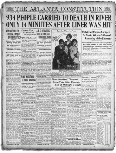 Im Bild sieht man eine historische US-Zeitung, die Atlanta Constitution, die über den Untergang der Empress of Ireland mit Reinhold Bach berichtet.