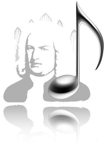 Im Bild schwebt ein Stillleben aus einer plastischen Note vor dem verfremdeten Portrait von Johann Sebastian Bach. Das Ensemble spiegelt sich auf dem weißen Untergrund. Alles ist in grau, keine Farbe.