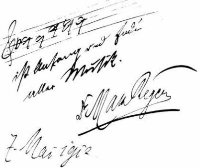 Im Bild ist eine Collage aus 4 Anteilen: eine Notenlinie mit den Noten B-A-C-H. Darunter das Zitat, dann die Unterschrift von Max Reger und ganz unten das Datum: 7. Mai 1902.