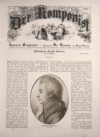 """Im Bild sieht man eine alte Zeitung mit altdeutscher Schrift. Sie heißt """"der Komponist"""". Im mittleren und unteren Teil ist Text und in der Mitte ein Oval mit einem Stich von Mozart."""