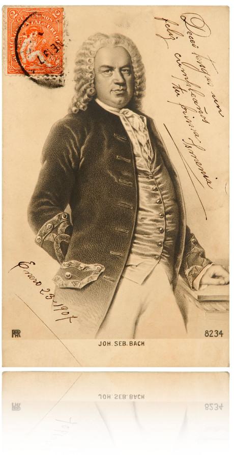 Historische Bach Postkarte zur Biographie von 1902. In schwarz-weiß, aber vergilbt. Man sieht Bach bis zu den Oberschenkeln, geschriebener Text ist vorne, auch das Datum und eine Briefmarke.