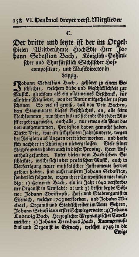 in ihr wurde der auch nekrolog ber johann sebastian bach verffentlicht geschrieben wurde er 1750 von bachs sohn carl philipp emanuel bach