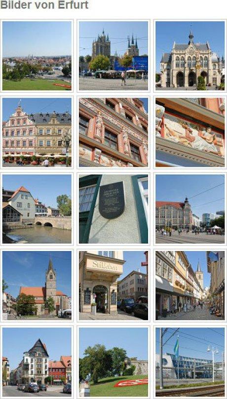 Im Bild sind 9 farbige Fotos von Leipzig angeordnet. Alle haben einen kleinen weißen Rand mit schwarzer Umfassung. Die Überschrift heißt Fotos Bach-Stadt Erfurt.