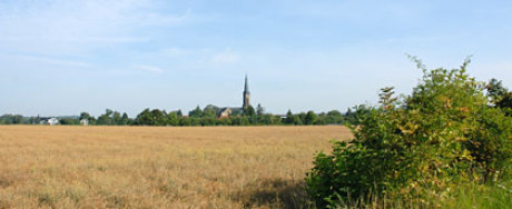 Im Foto sieht man Wechmar, eigentlich nur den Kirchturm von Ferne. fotografiert ist aus einem Kornfeld, rechts eine Hecke. Die Entfernung ist sehr weit. Der Himmel ist diesig, die Sonne scheint.