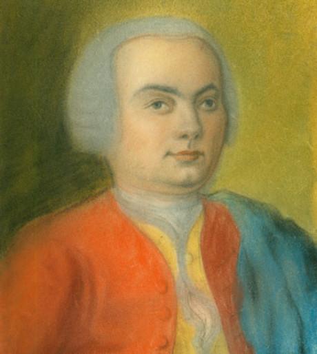 In einem sehr frischen Pastellton sieht man C. P. E. Bach im Alter von etwa 15 - 20. Er trägt eine leuchtend rote Jacke mit gelbem Rand über weißen Hemd. Über einer Schulter eine blaugrüne Jacke.