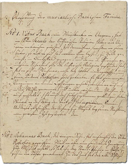 Ein Bild des Ursprung, Absatz 1. Man sieht mehrere Zeilen in originaler Handschrift, es handelt sich um den ersten Abschnitt. Es geht um Veit Bach.