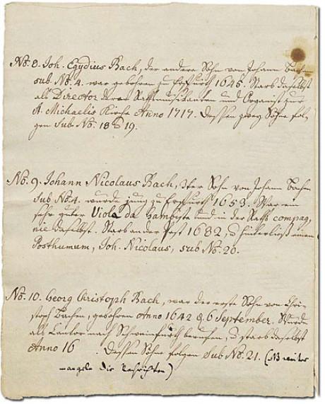 Ein Bild der fünften Seite des Ursprung der musicalisch-Bachischen Familie, dabei geht es um die Personen Nummer 9 bis 11. Alles ist in der Handschrift von der Enkelin Bachs. Das Papier ist vergilbt.