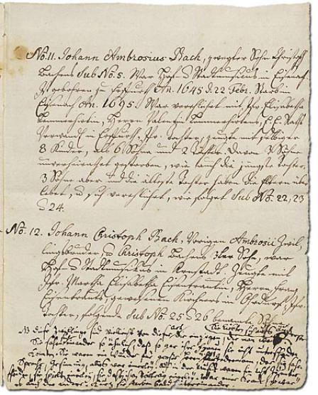 Das Bild zeigt die sechste Seite des Ursprung der musicalisch-Bachischen Familie. Alles ist in Handschrift auf vergilbtem Papier mit ausgefransten Dokumentenrändern.