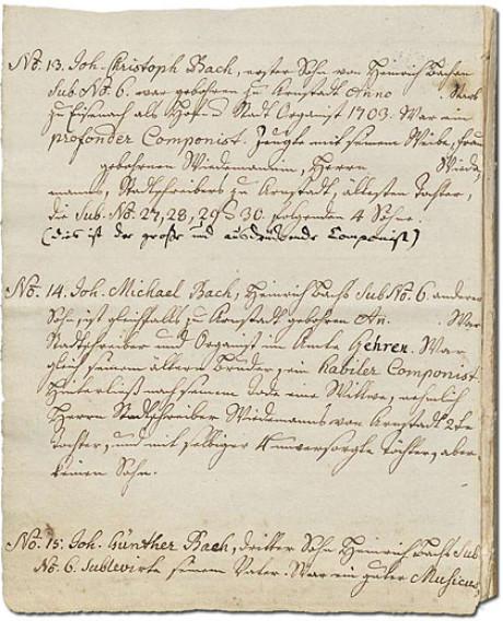 Im Foto sieht man eine Seite des Ursprung. Der Ursprung ist die Abkürzung des Ursprung der musicalisch-Bachischen Familie, eine Zusammenstellung von 53 Familienmitgliedern von 1735.