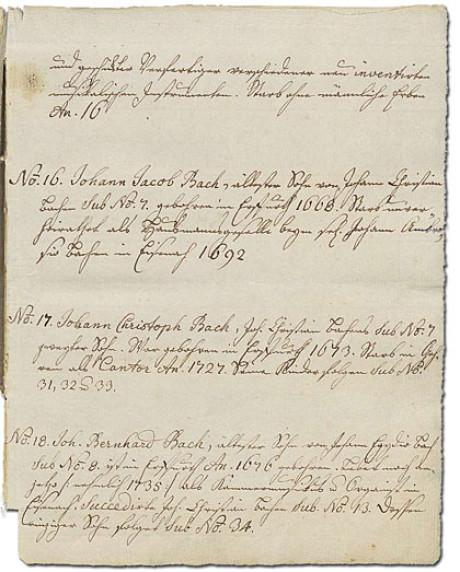 Im Bild sieht man die Positionen 15 bis 18 des Ursprung der musicalisch-Bachischen Familie, die Johann Sebastian Bach 1735 zusammenstellte und seine Enkelin später niederschrieb.