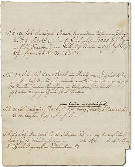 Das Bild zeigt die Seite 9 und die Positionen 19 und 22 des Ursprung der musicalisch-Bachischen Familie auf vergilbtem Papier mit ausgefransten Rändern, geschrieben von der Enkelin Bachs.