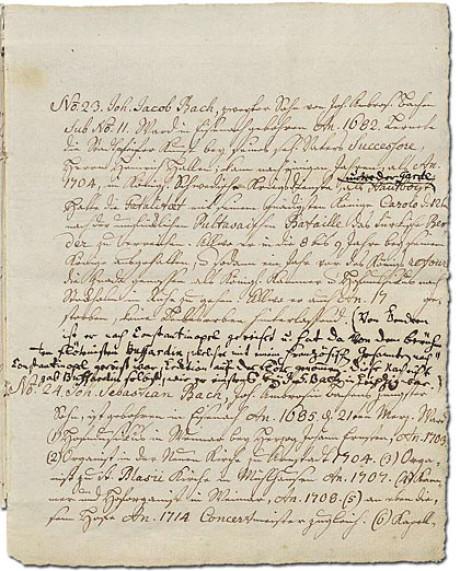 Im Foto sieht man extrem eng von Bach beschrieben und von seinem Sohn ergänzt eine Seite des Ursprung der musicalisch-Bachischen Familie im Original: vergilbt und die Ränder sind ausgefranst.