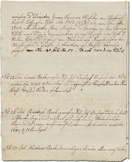 Im Bild die Handschrift der Enkelin von Johann Sebastian Bach. Im Ursprung sind 53 Familienmitglieder aufgelistet, alles auf gelblichem Papier mit ausgefransten Ränder. Hier sind No. 25, 26 und 27.