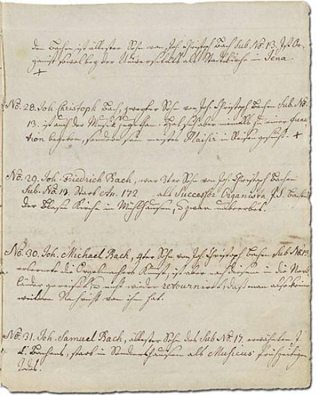 Der Ursprung sind 17 Blatt historisches Papier mit 53 Bachmitgliedern. In Handschrift sind hier die Positionen Mr. 28 bis 31 aufgelistet. Geschrieben hat Bachs Enkelin.
