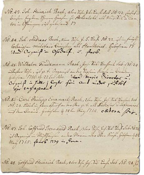 Im Foto sieht man Seite 16 des Ursprung der musicalisch Bachischen Familie von Bach geordnet 1735 und von seiner Enkelin kopiert. Sein Sohn addierte Stellen, das ganze von No. 43 bis No. 48.